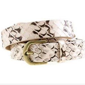 NWT J Crew leather snake print belt size Small